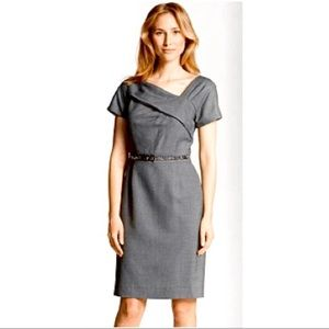 NEW Tahari Charcoal Gray Asymmetrical Neck Dress